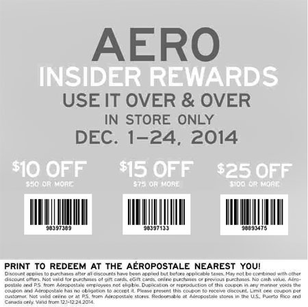 Coupon for: Aeropostale Store - $25 Off $100 Purchase or More