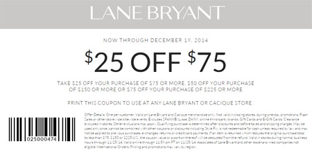 Coupon for: Lane Bryant - $25 Off $75