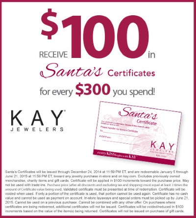 Coupon for: SANTA'S CERTIFICATES, Kay Jewelers