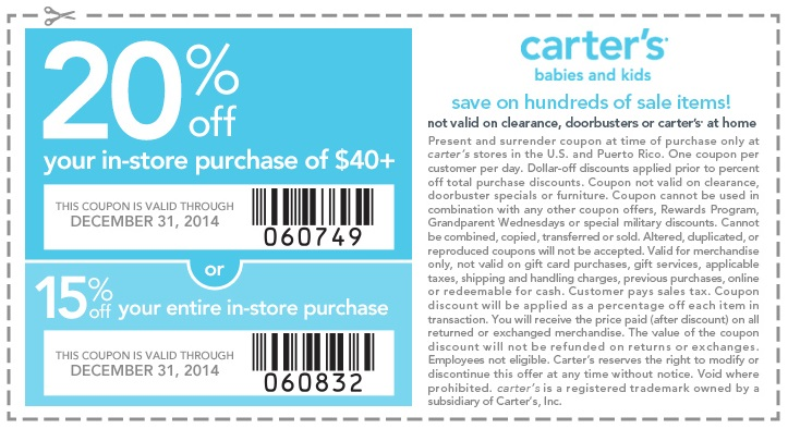 Coupon for: carter's, After Christmas Clearance