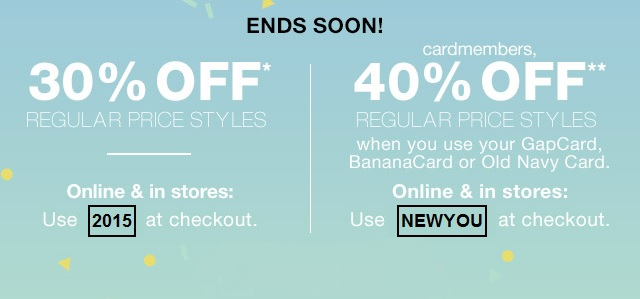 Coupon for: Gap, Take up to 40% off
