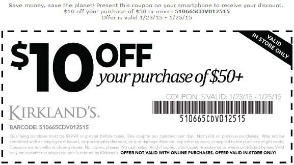 Coupon for: Kirkland's Printable Coupon, Last weekend to save on specials
