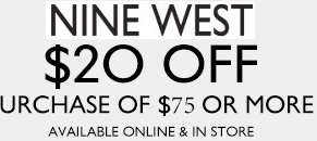 Coupon for: Nine West, Save $20 on your purchase