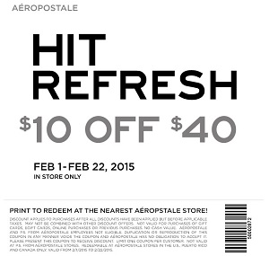 Coupon for: Aéropostale, Save with special coupon