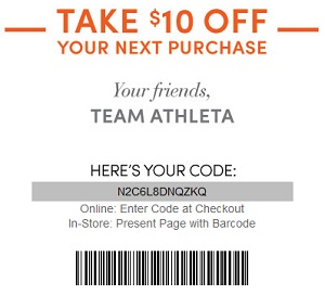 Coupon for: Athleta, Save on your purchase