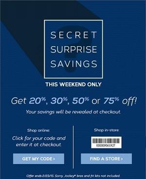 Coupon for: Jockey, Secret Surprise Savings