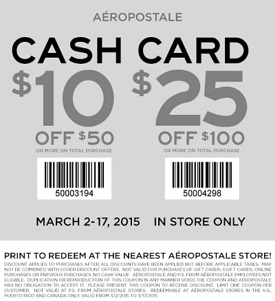 Coupon for: Aéropostale, Dive into savings