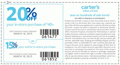 Coupon for: carter's, Sale coupon