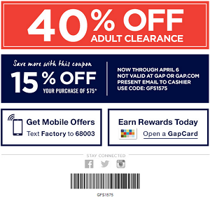 Coupon for: Gap Factory Stores, Make Your Spring Escape!
