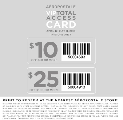 Coupon for: Aéropostale, Save with printable coupon