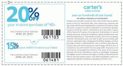 Coupon for: carter's, Save with in-store coupon