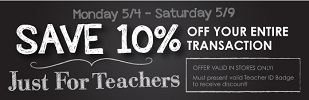 Coupon for: Kirkland's, Sale Just for Teachers