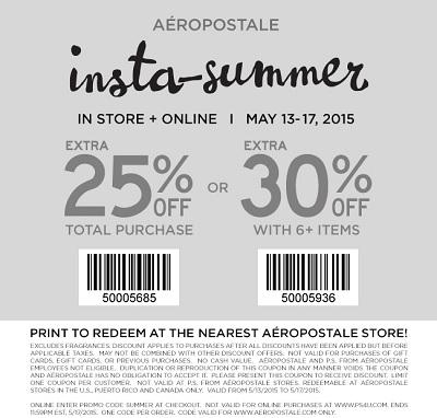 Coupon for: Aéropostale, Insta-Summer Sale