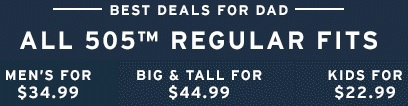 Coupon for: Levi's, Best deals for dad