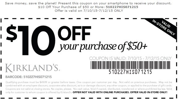 Coupon for: Save big with Kirkland's Printable Coupons