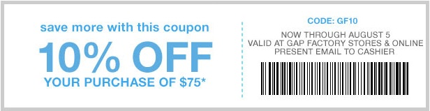 Coupon for: Save more with coupon at Gap Factory Stores