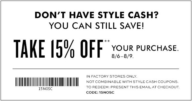 Coupon for: Redeem Style Cash at Banana Republic Factory Stores or ...