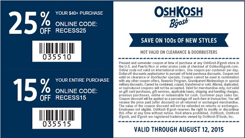 Coupon for: Save with sale coupon at OshKosh B'gosh