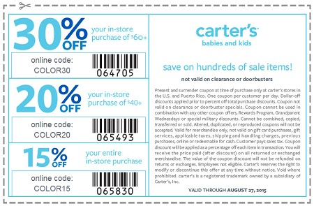 Coupon for: Save with printable coupon from carter's
