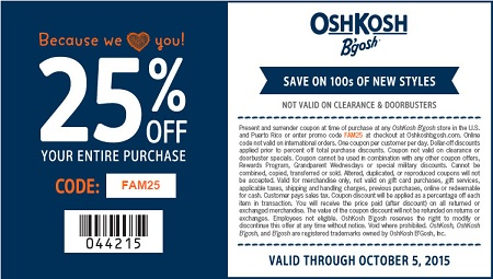 Coupon for: Friends & Family sale at OshKosh B'gosh stores