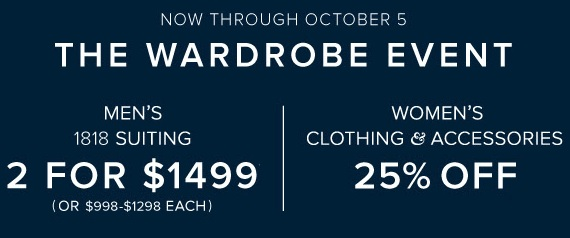 Coupon for: The Wardrobe event at Brooks Brothers