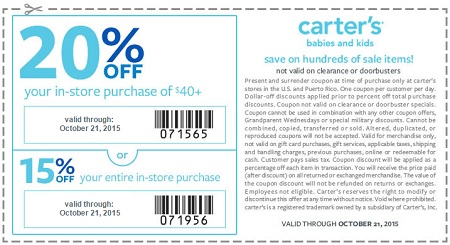 Coupon for: Save with printable coupon at carter's