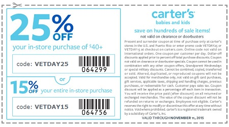 Coupon for: Veterans Day Sale 2015 just started at carter's