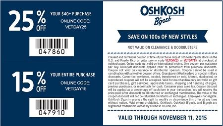 Coupon for: Veteran's Day Sale 2015 at OshKosh B'gosh