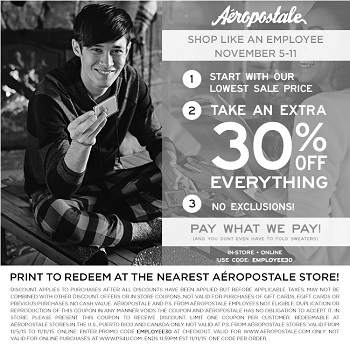 Coupon for: Print the coupon and save at Aéropostale