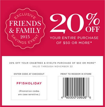 Coupon for: Friends & Family Event at Crabtree & Evelyn stores