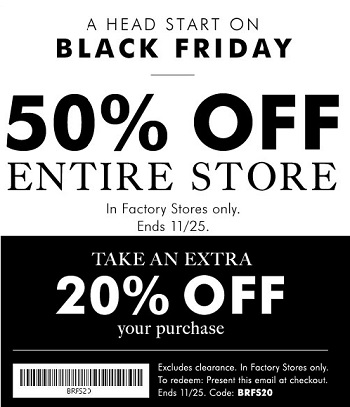 Coupon for: Pre-Black Friday 2015 at Banana Republic Factory Stores