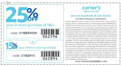 Coupon for: Cyber Sale 2015 is still on at carter's