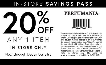 Coupon for: Shopping with printable coupon at Perfumania