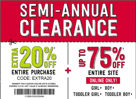 Coupon for: Semi-Annual Sale from Crazy 8