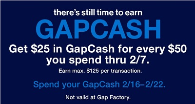 Coupon for: There's still time to earn GapCash