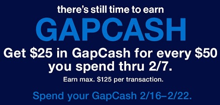 Coupon for: Still time to earn GapCash at Gap locations