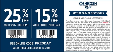 Coupon for: OshKosh B'gosh USA: Presidents Day Sale 2016