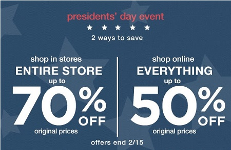 Coupon for: Presidents' Day Sale at Gap Factory locations