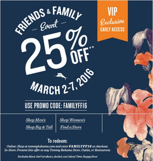 Coupon for: Friends & Family Event is on at Tommy Bahama