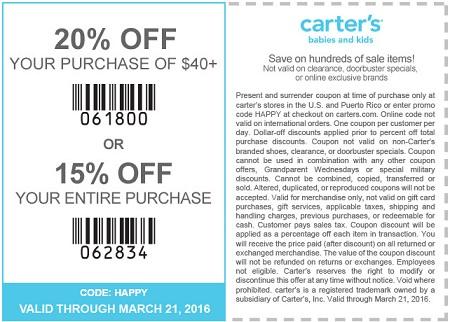 Coupon for: carter's printable sale coupon