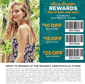 Coupon for: Print a coupon and save at Aéropostale locations