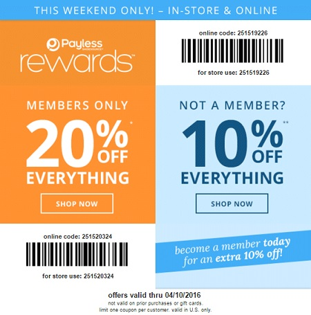 Coupon for: Weekend savings at Payless ShoeSource locations
