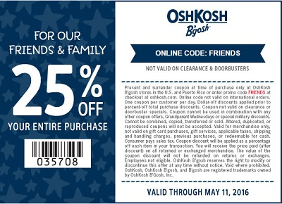 Coupon for: Friends & Family Event at OshKosh B'gosh stores and online