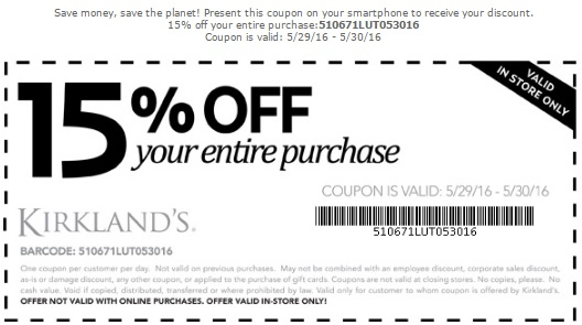 Coupon for: Save with coupon at Kirkland's