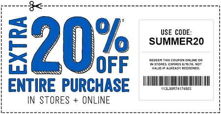 Coupon for: Save with coupon at Crazy 8 stores and online