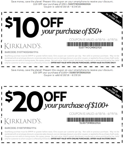Coupon for: Coupon savings at Kirkland's