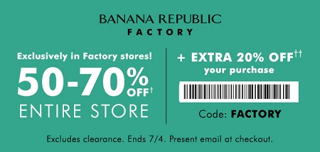 Coupon for: Printable coupon from Banana Republic Factory
