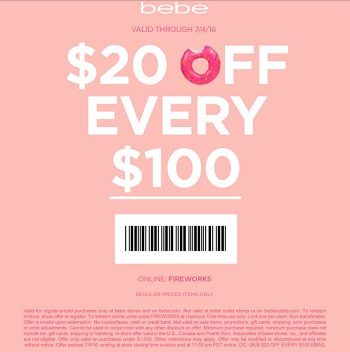 Coupon for: 4th of July Sale at bebe stores and bebe online