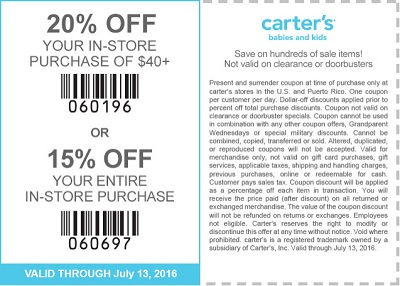 Coupon for: Shop with coupon at carter's stores