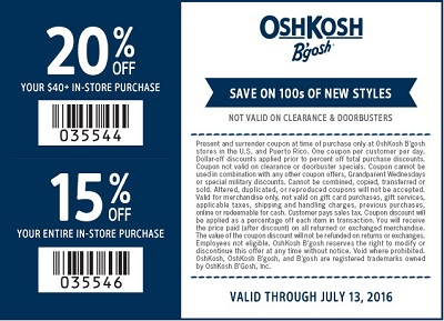 Coupon for: Printable coupon savings at OshKosh B'gosh
